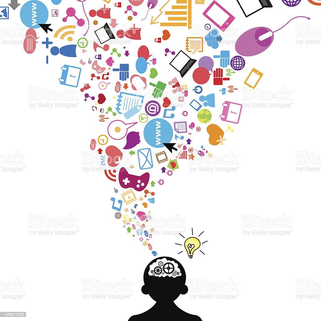 Social network light bulb idea vector illustration vector art illustration