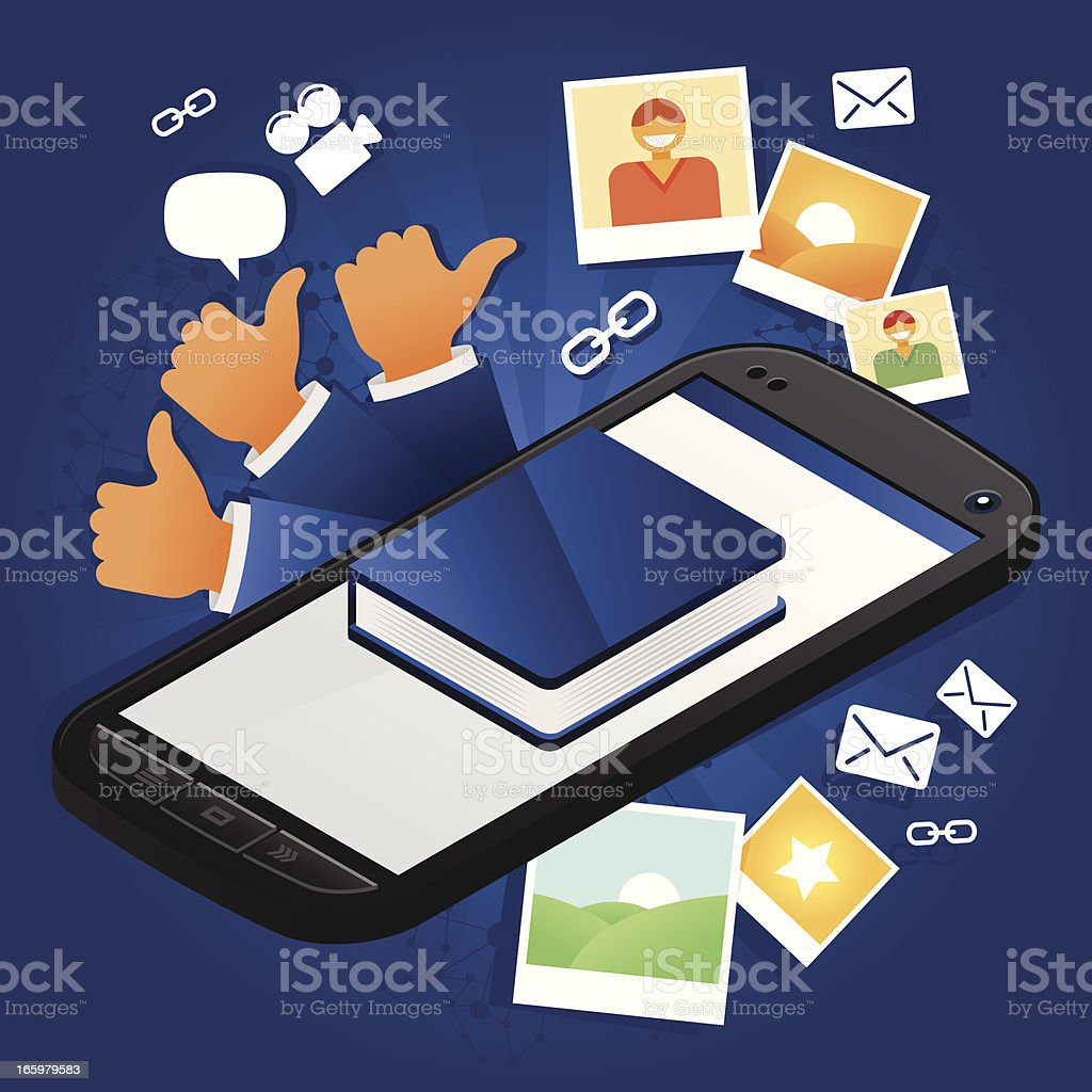 Social network phone royalty-free stock vector art