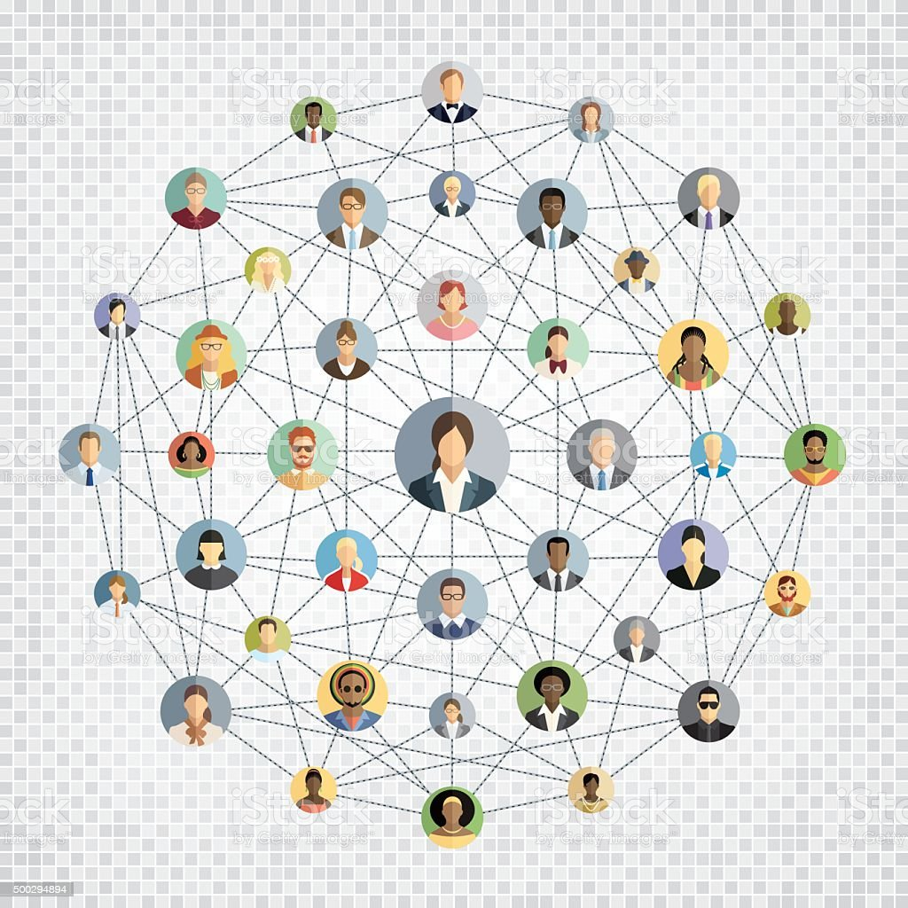 Social network sphere vector art illustration