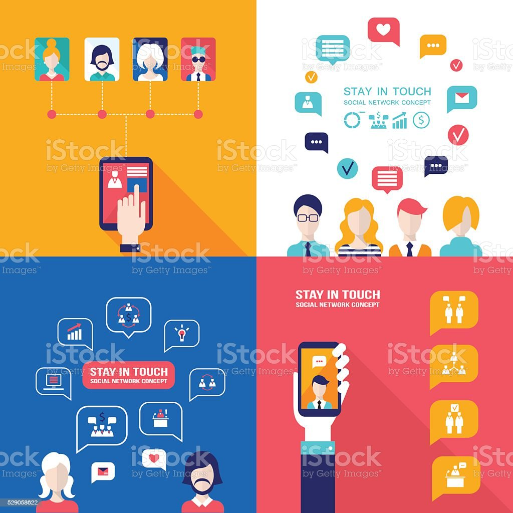 Social Network Technology Banner set People using various electronic devices vector art illustration