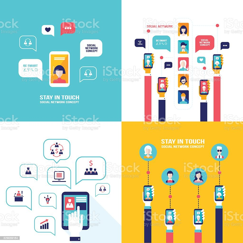 Social Network Technology Banner set User Communications on web vector art illustration