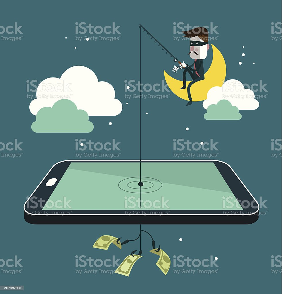 Social network thief stealing money by fishing dollar banknote vector art illustration