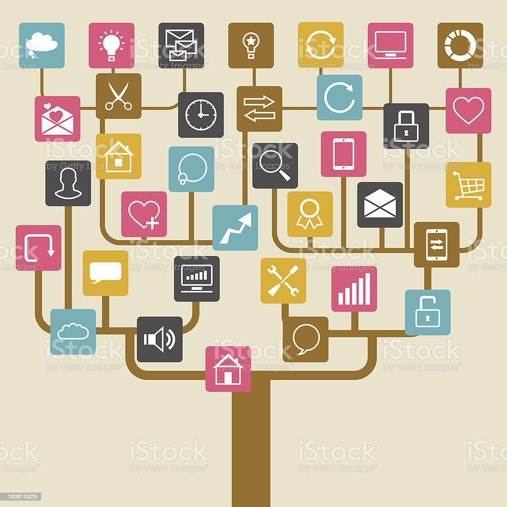 Social network tree background of SEO internet icons. stock photo