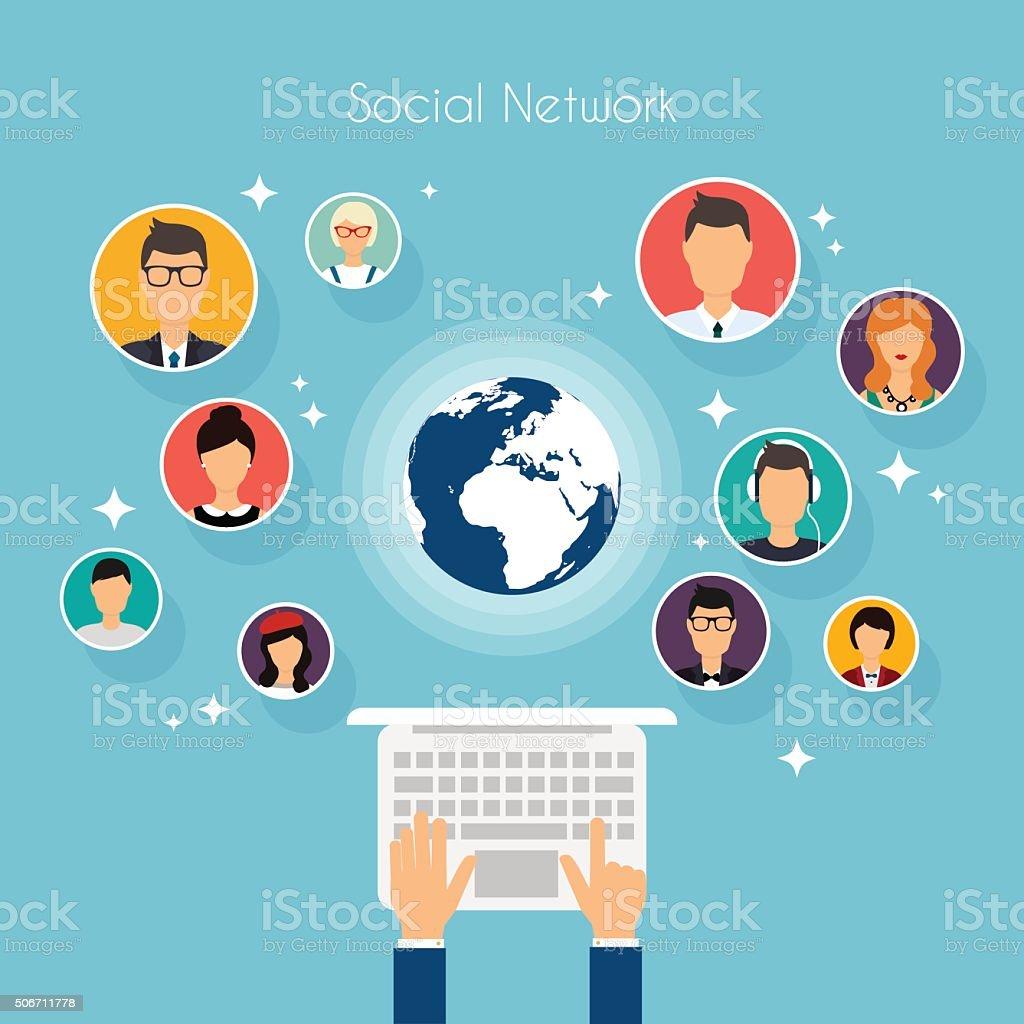 Social Network Vector Concept. Flat Design Illustration for Web vector art illustration