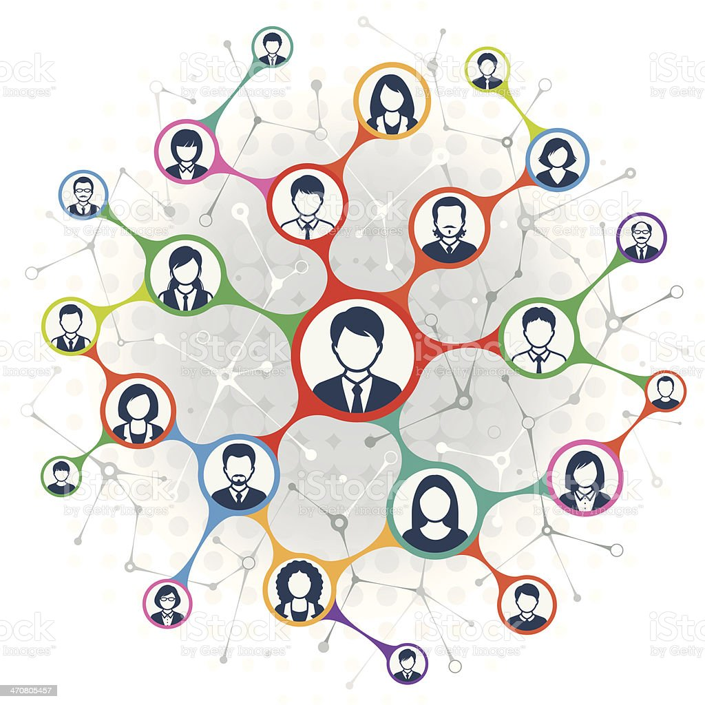 Social Network vector art illustration