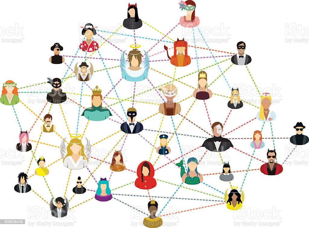 Social network with masked people. vector art illustration