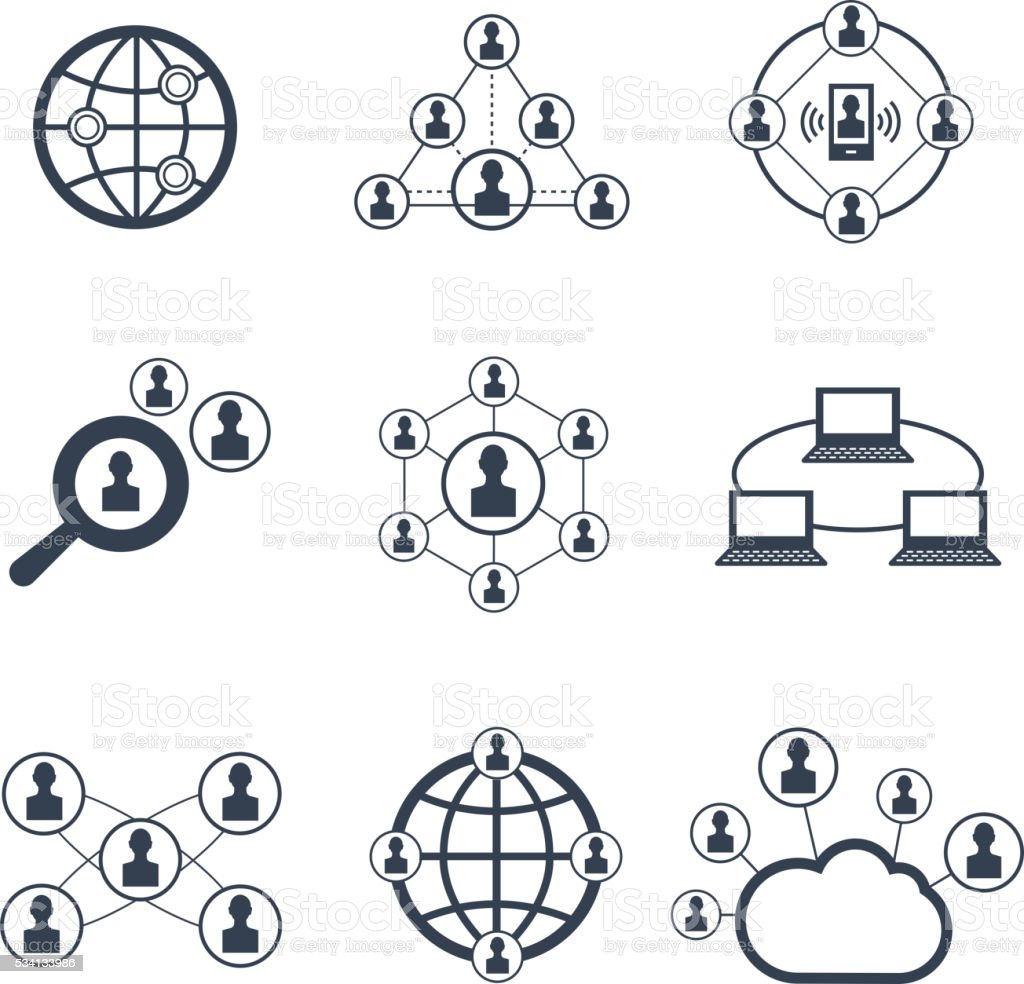 Social network with people symbols. Vector icons set vector art illustration