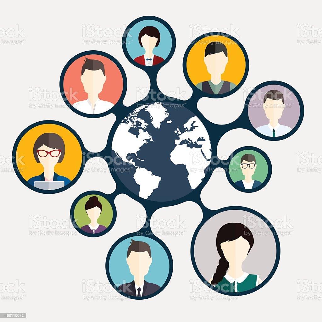 Social Networking and Social Media avatar  Concept. vector art illustration