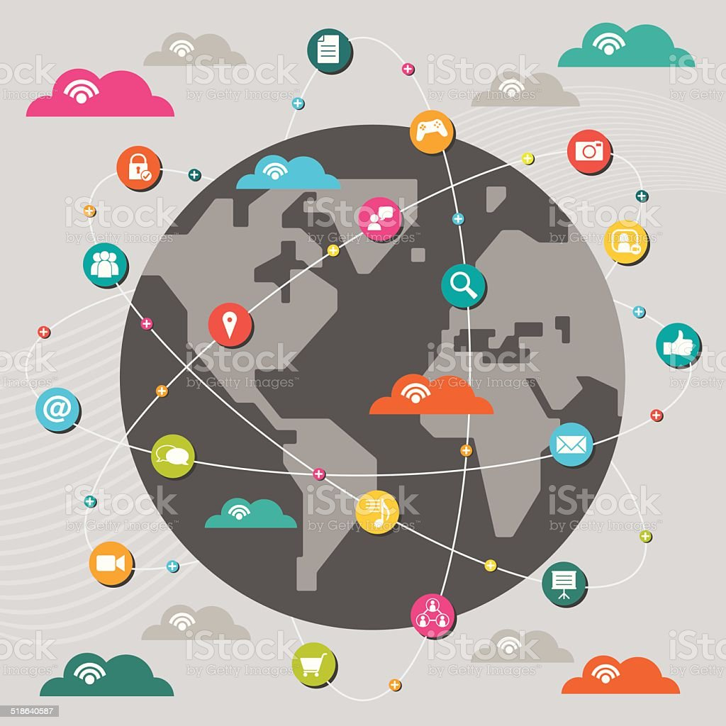 Social Networking Around the World vector art illustration