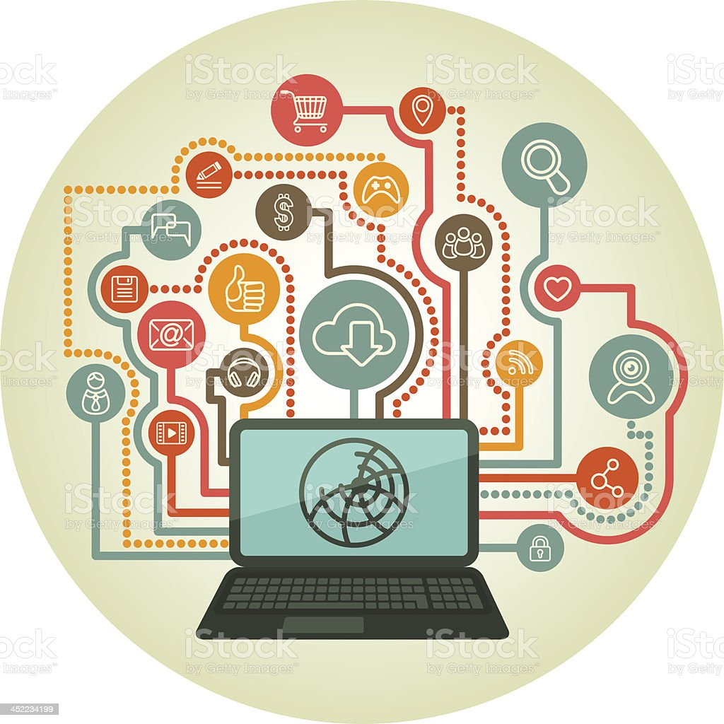 Social Networking Concept with Laptop and Line Icons royalty-free stock vector art