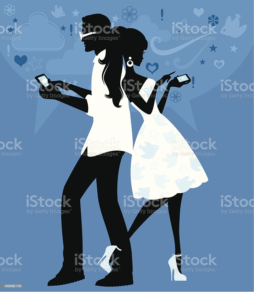 Social Networking Couple royalty-free stock vector art