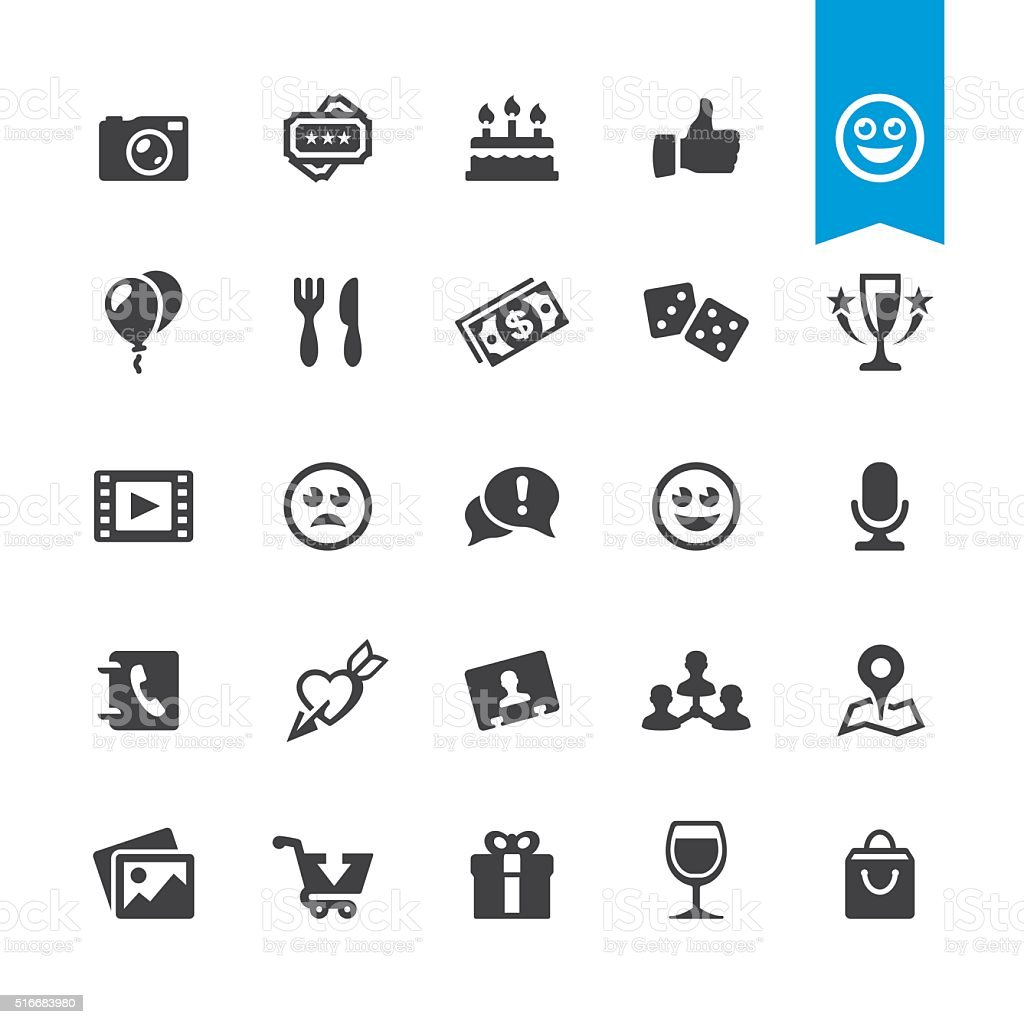 Social Networking & Entertainment sign and icon vector art illustration