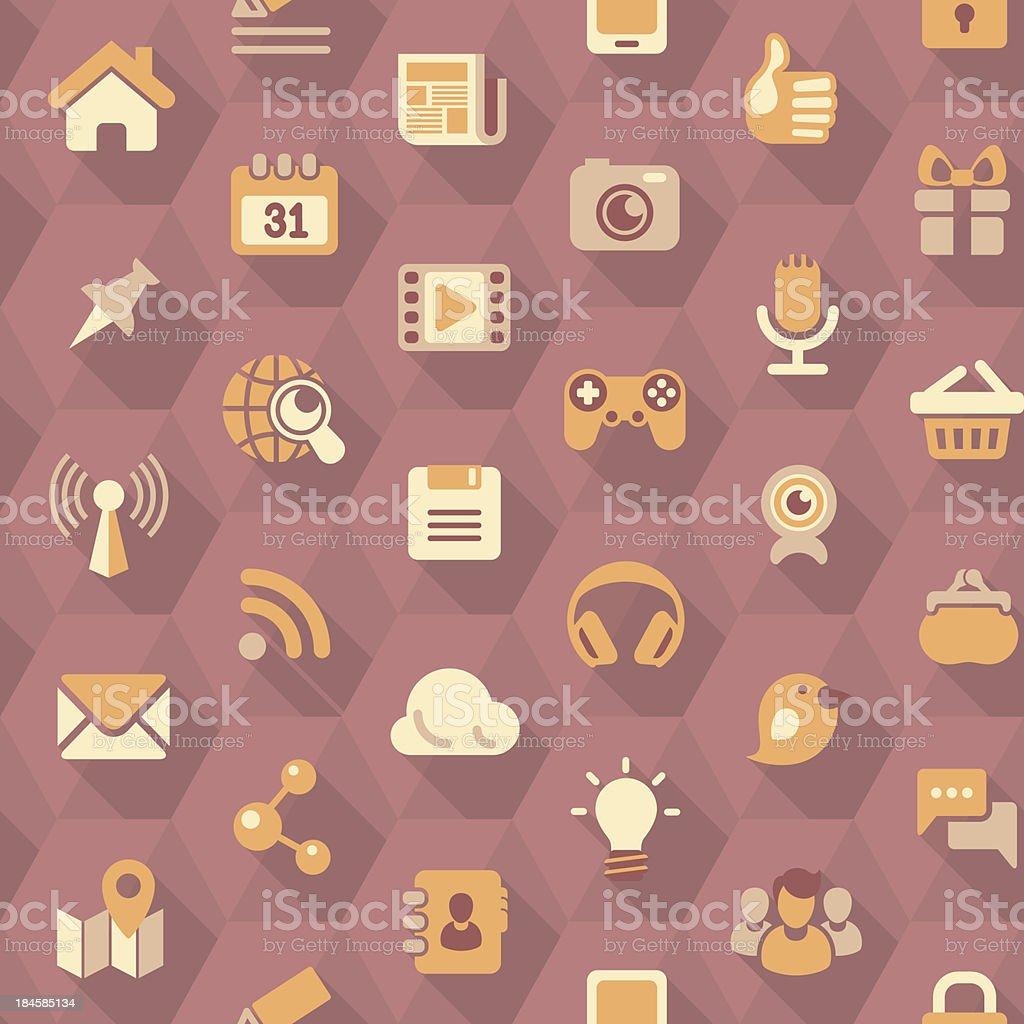 Social Networking Hexagon Purple Pattern royalty-free stock vector art