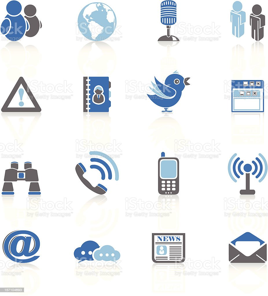 Social networking Icons - Blue Series royalty-free stock vector art