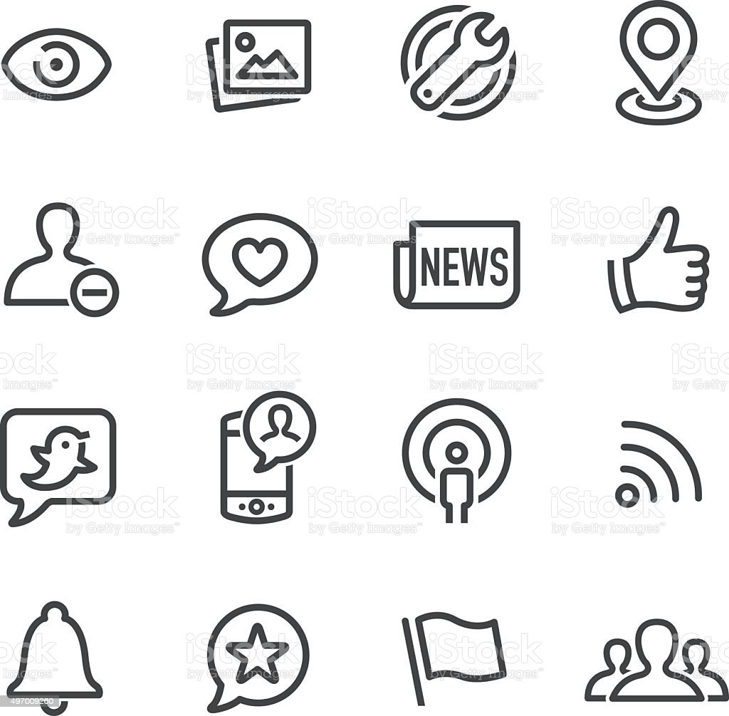 Social Networking Icons - Line Series vector art illustration