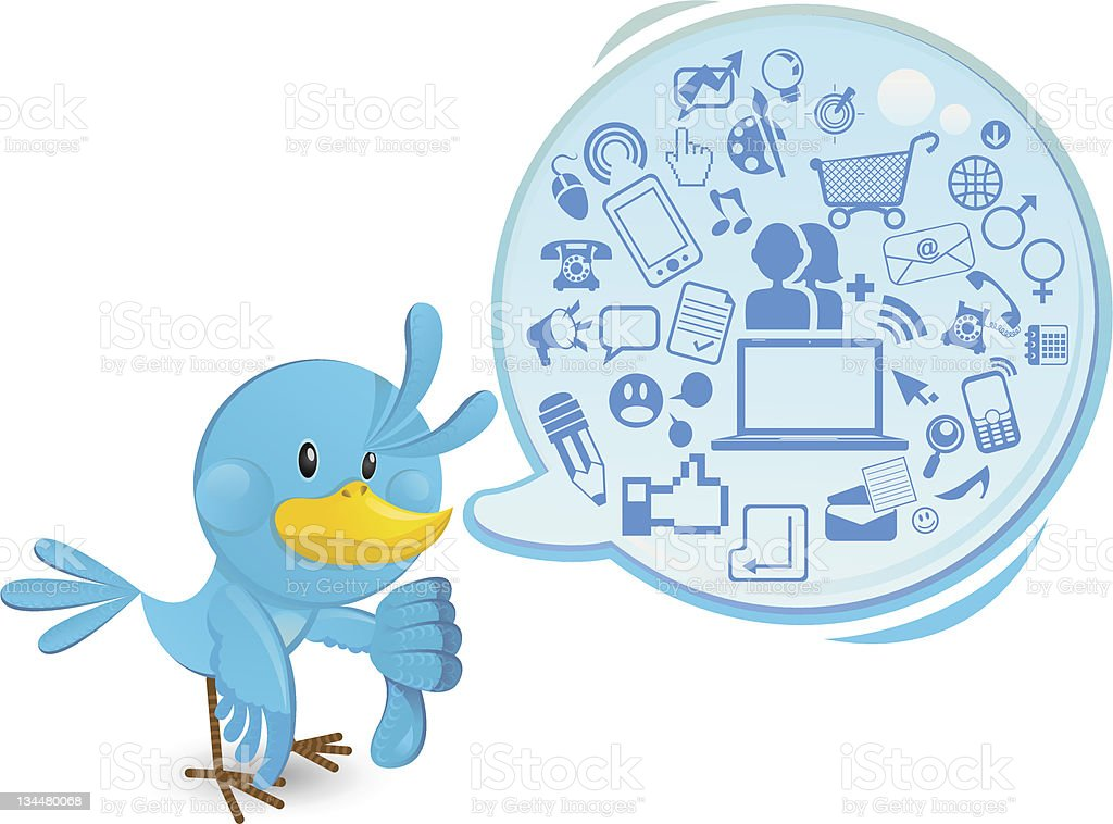 Social networking media bluebird with a speech bubble thumbs down royalty-free stock vector art