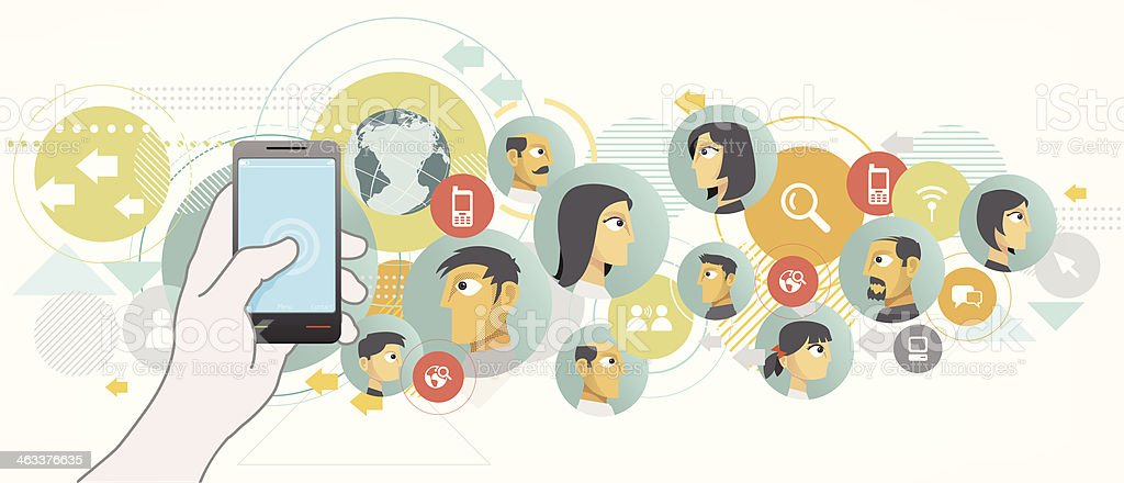 Social networking on mobile royalty-free stock vector art
