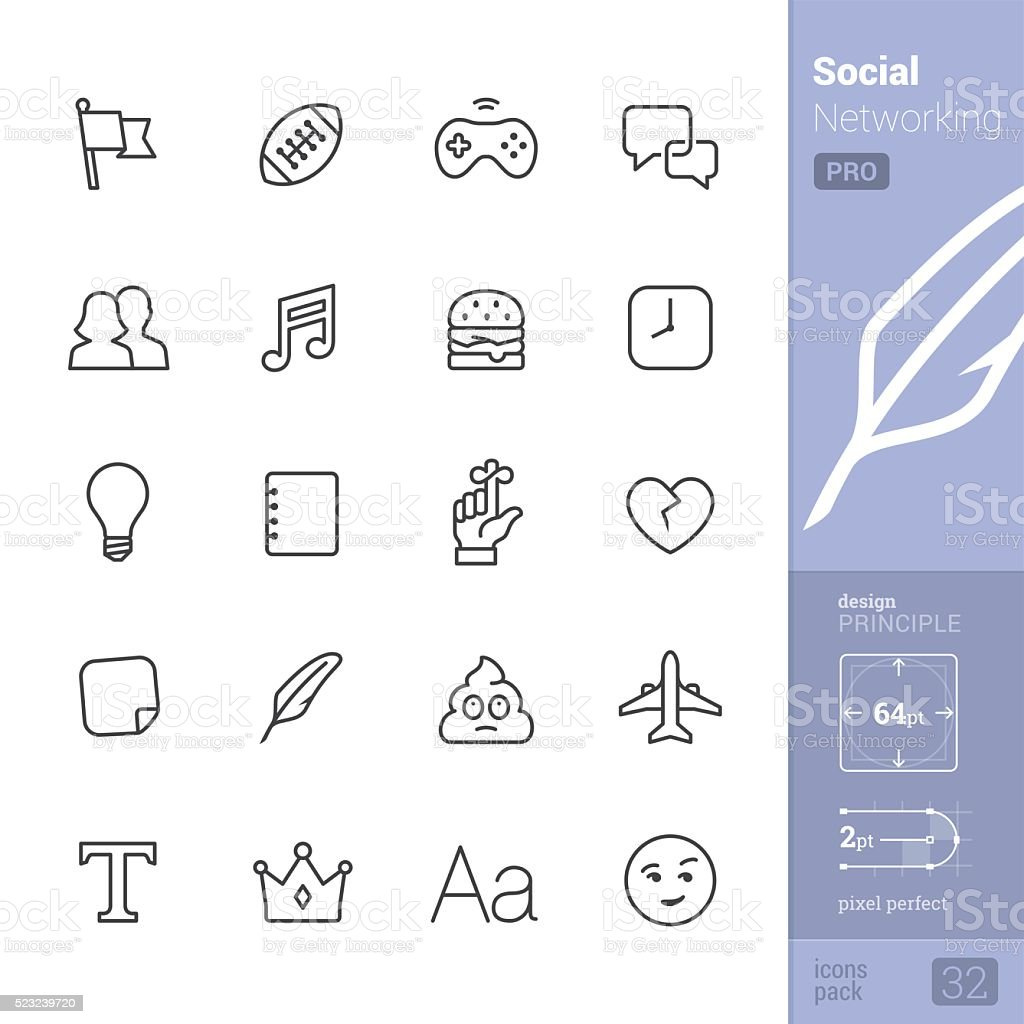 Social Networking vector icons - PRO pack vector art illustration