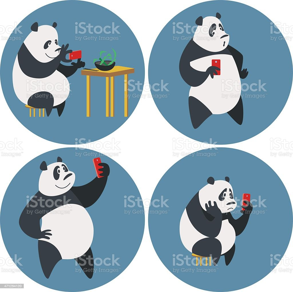 Social networks addicted Panda vector art illustration