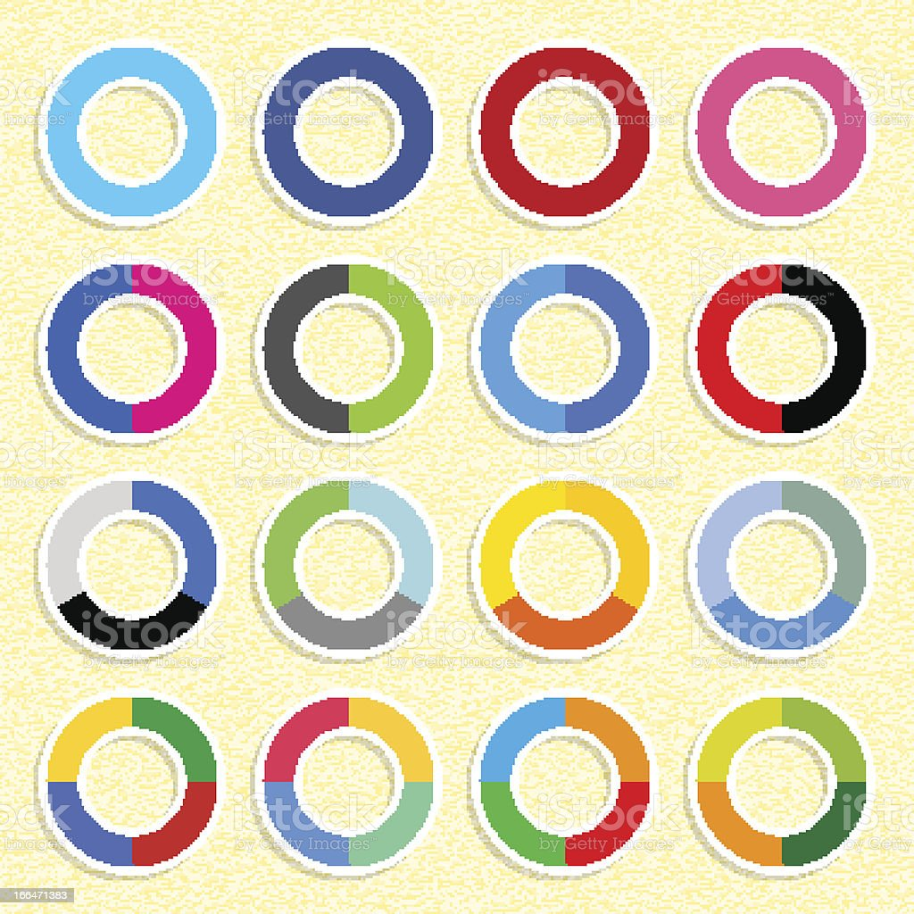 Social networks icon popular color ring button yellow paper background royalty-free stock vector art