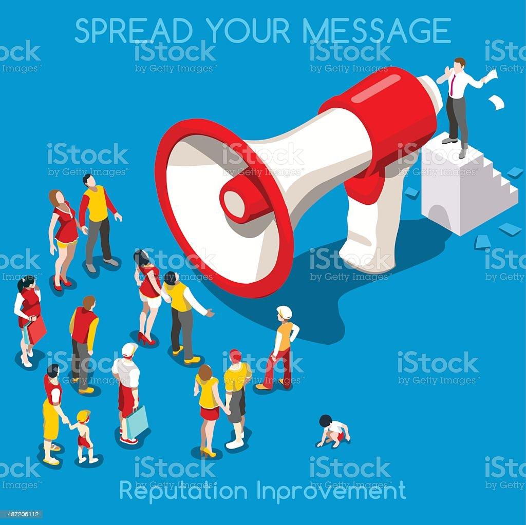 Social Promotion Concept Isometric vector art illustration
