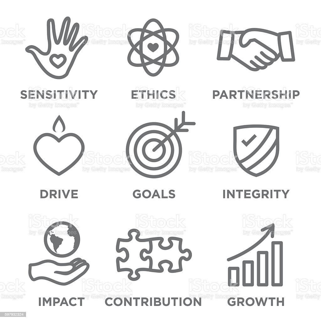 Social Responsibility Outline Icon Set vector art illustration