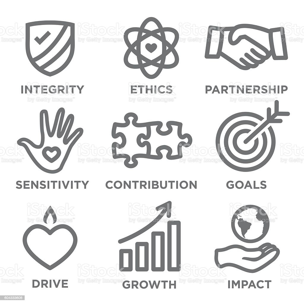 Social Responsibility Outline Icon Set vector art illustration