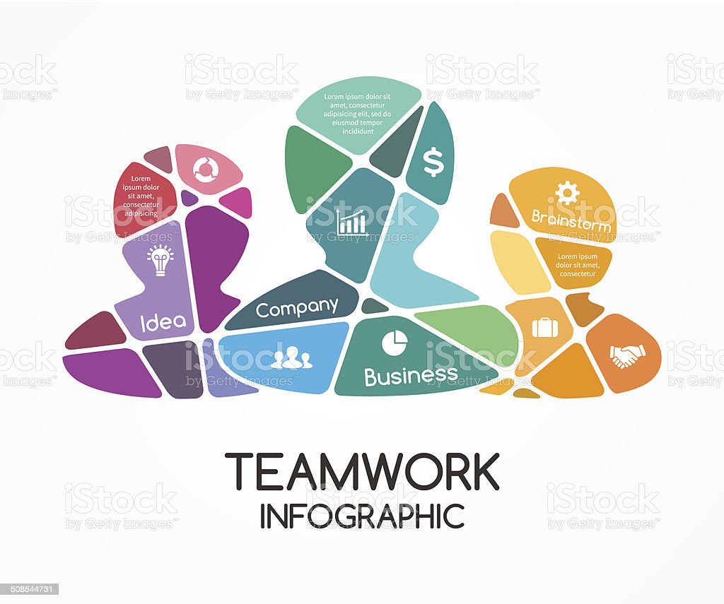 Social vector teamwork infographic. Business presentation. vector art illustration