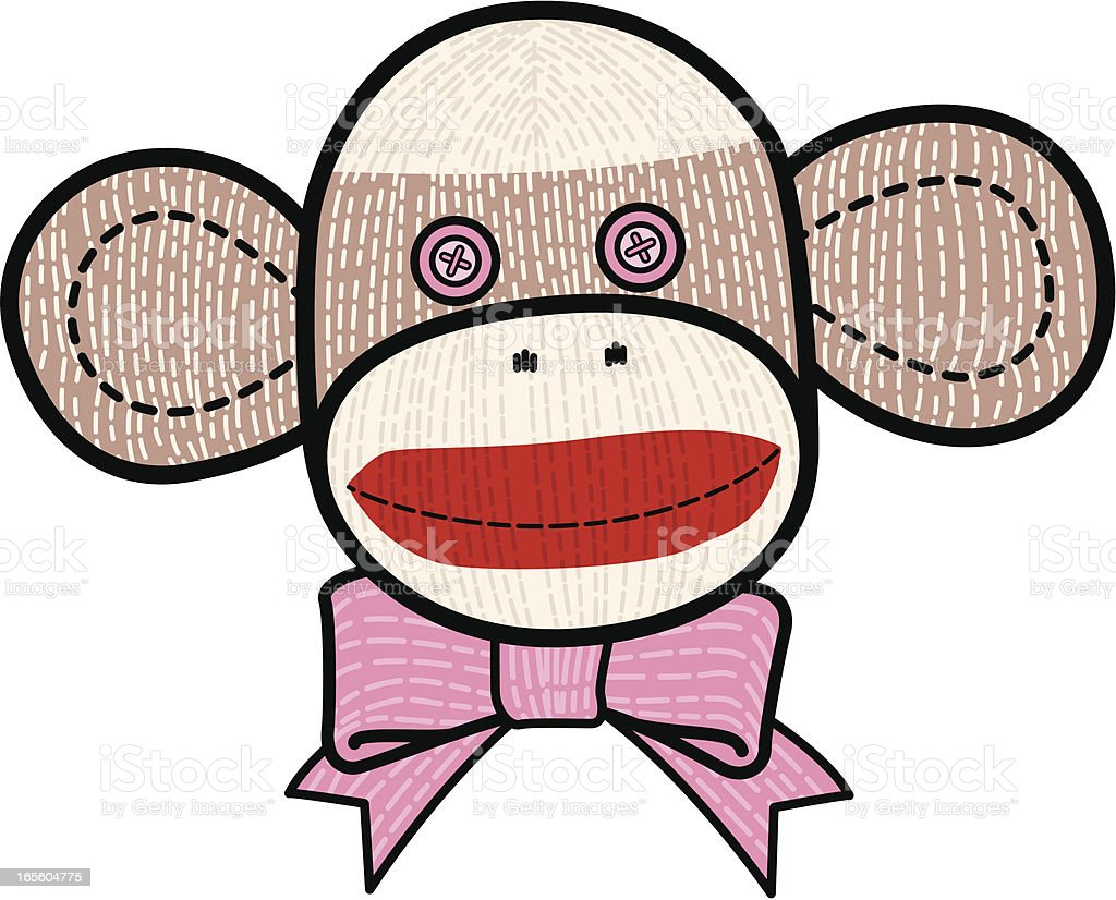 Sock monkey face with pink bow tie vector art illustration