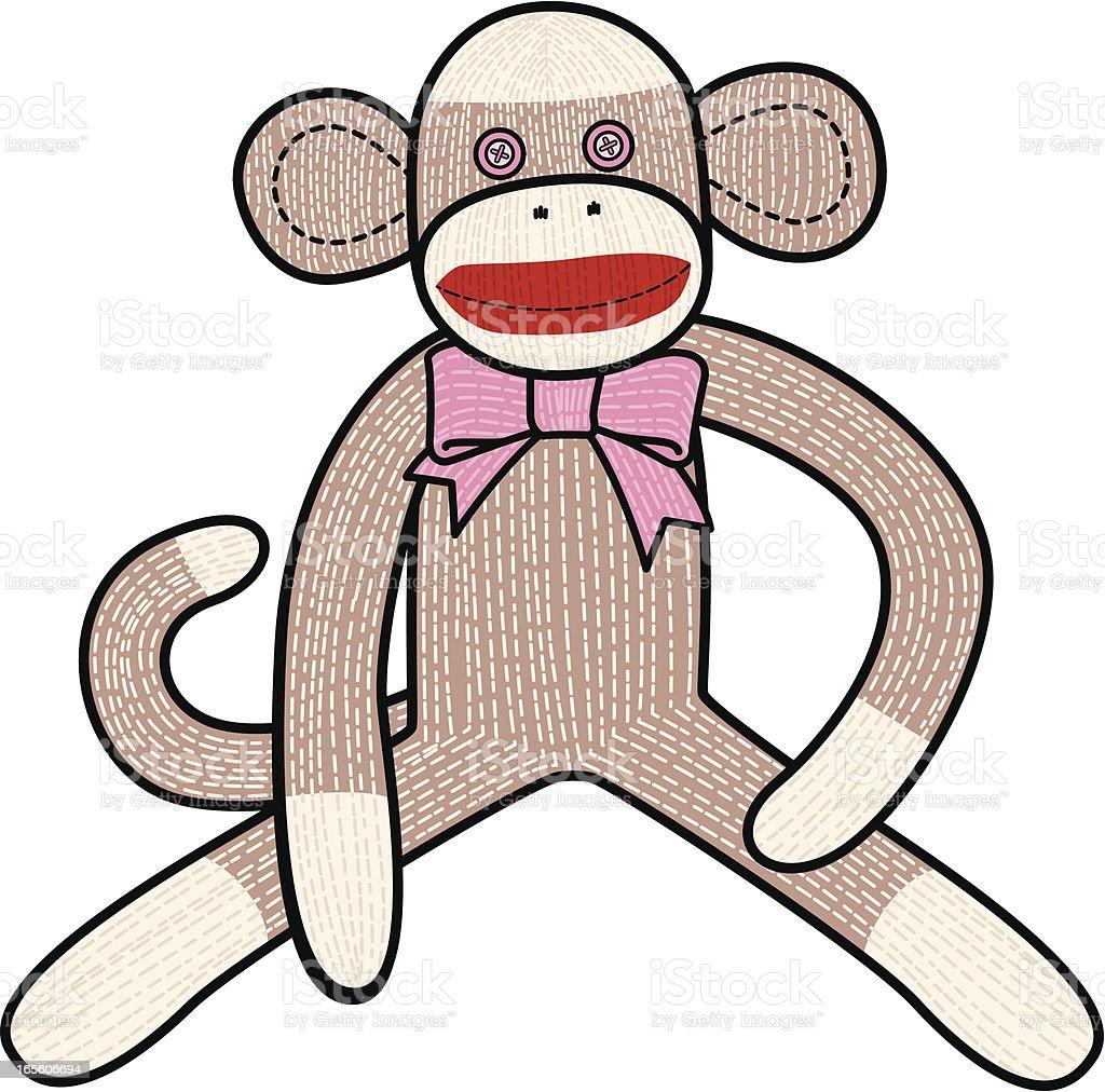 Sock monkey wearing a pink tie vector art illustration
