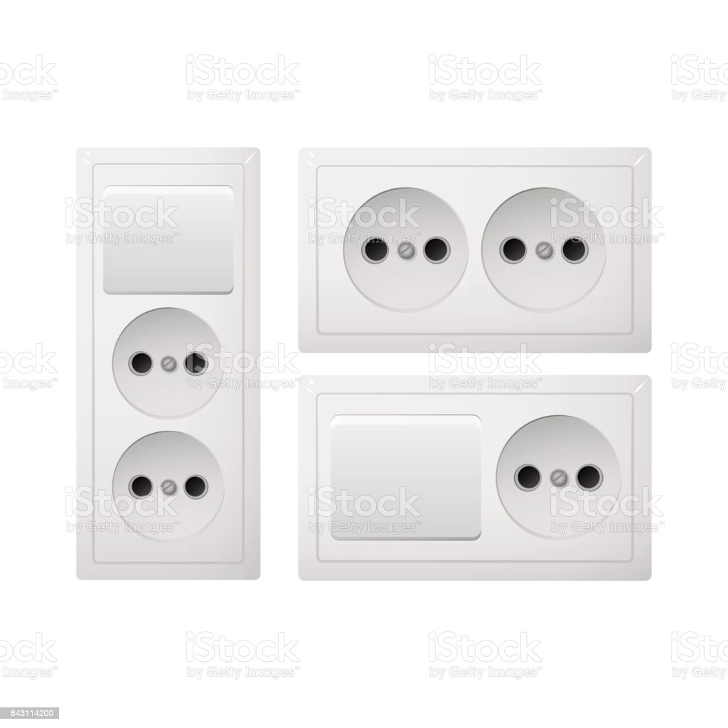 Socket Type C with switch. Power plug. Receptacle from South America. vector art illustration