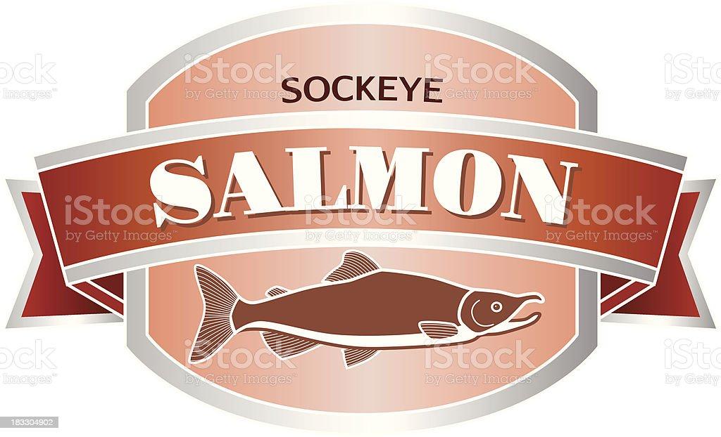 sockeye salmon seafood label or sticker royalty-free stock vector art