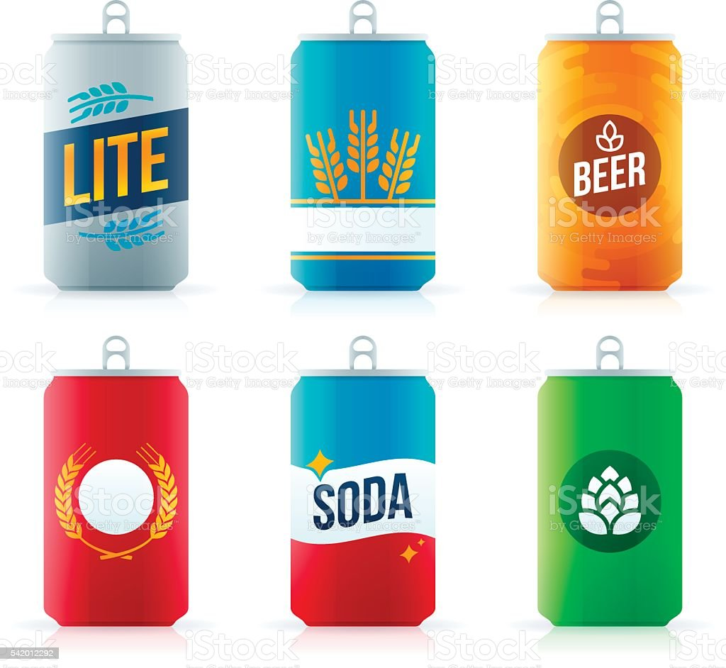 Soda or Beer Aluminum Cans vector art illustration