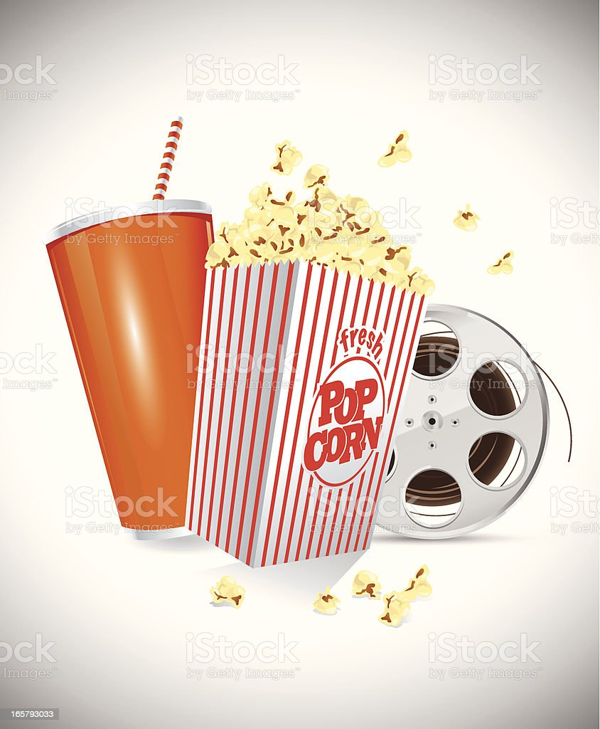 Soda Popcorn Film Reel vector art illustration