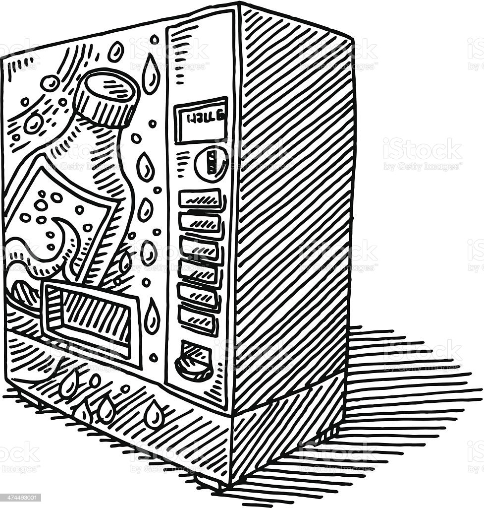 Soda Vending Machine Drawing vector art illustration