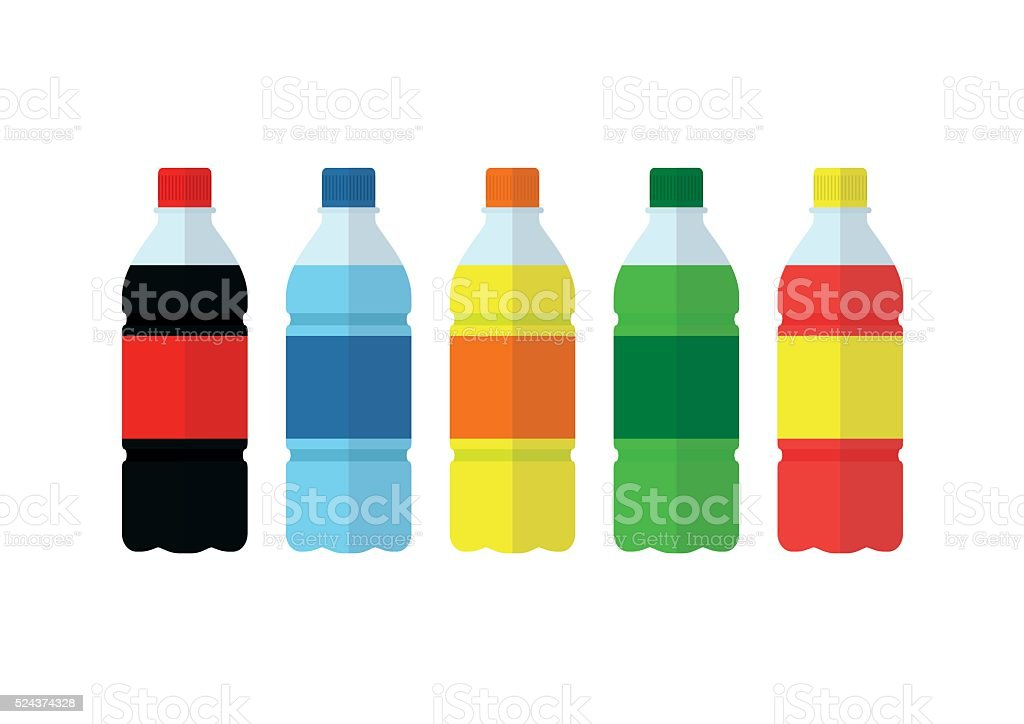 Soda, water and juice or tea bottles icons. Nature drinks vector art illustration