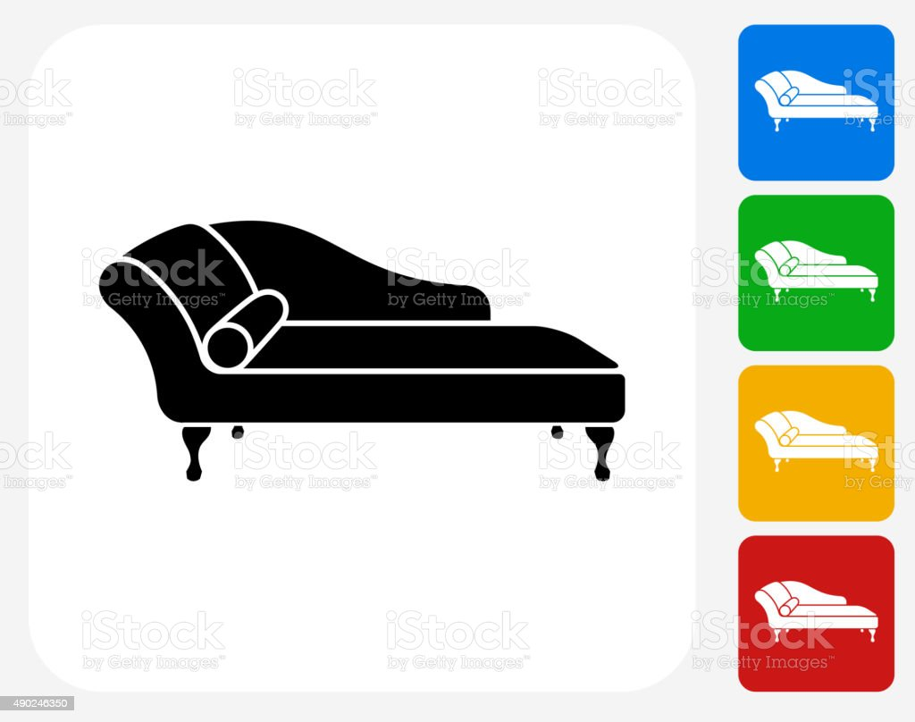 Sofa Daybed Icon Flat Graphic Design vector art illustration