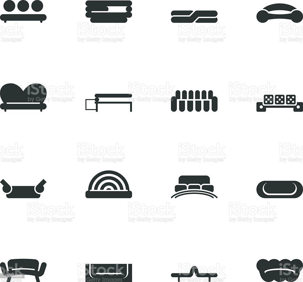 Sofa Design Silhouette Icons royalty-free stock vector art
