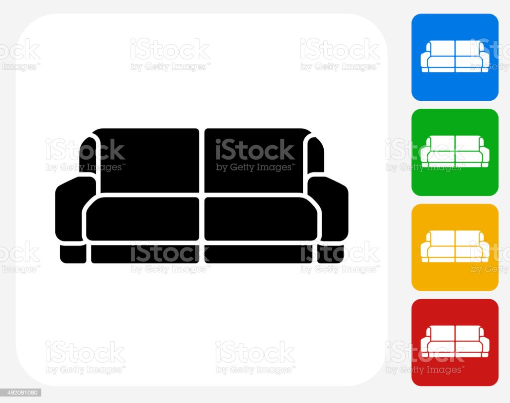 Sofa Icon Flat Graphic Design vector art illustration