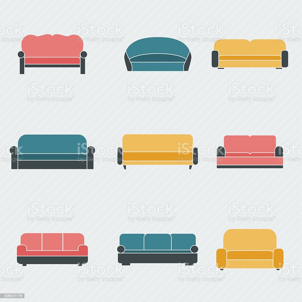 Sofa icons set vector art illustration