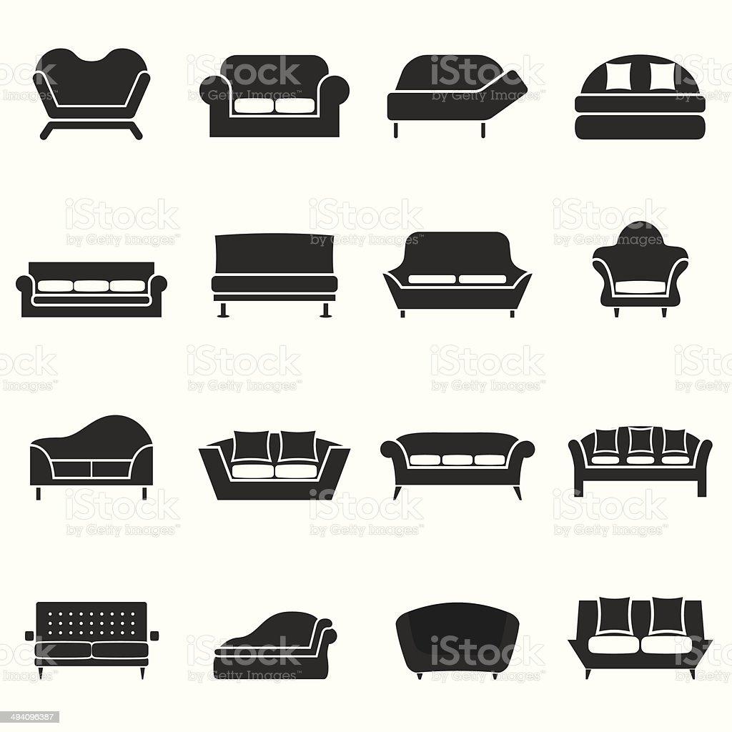 Sofa Icons vector art illustration