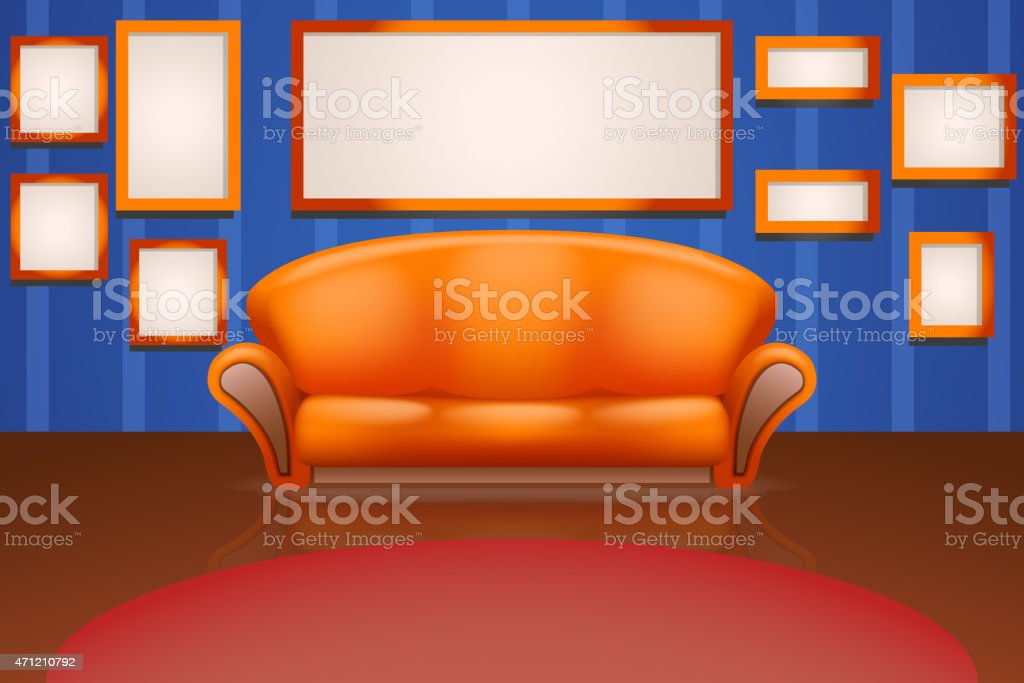 sofa on wall with frames vector art illustration