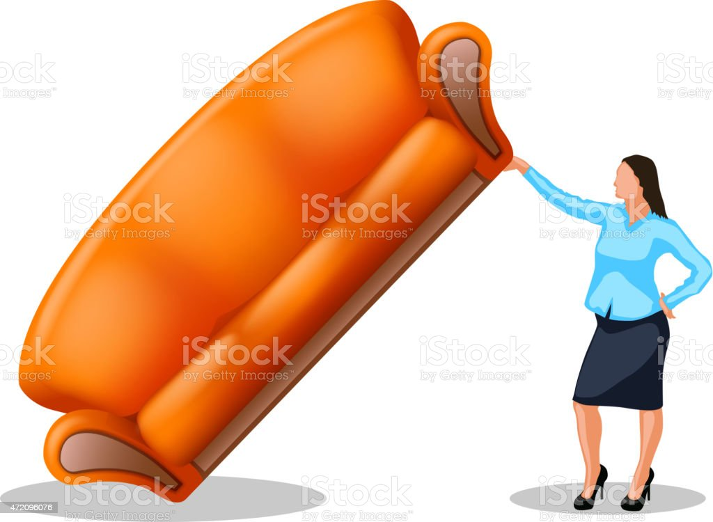 sofa6 with girl vector art illustration
