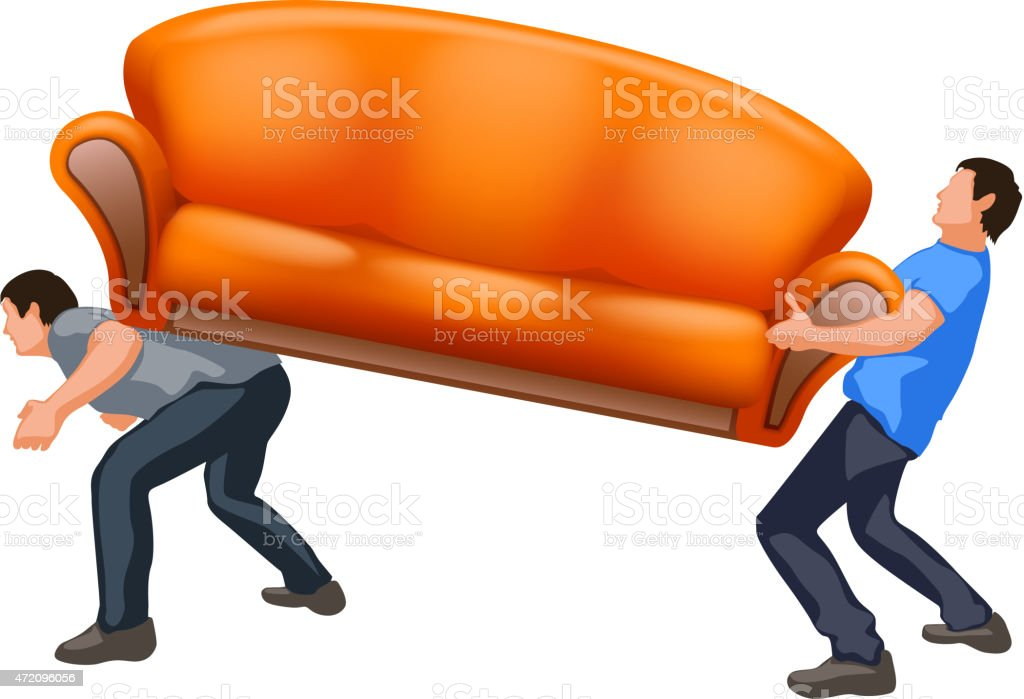 sofa8 carrying two guys vector art illustration