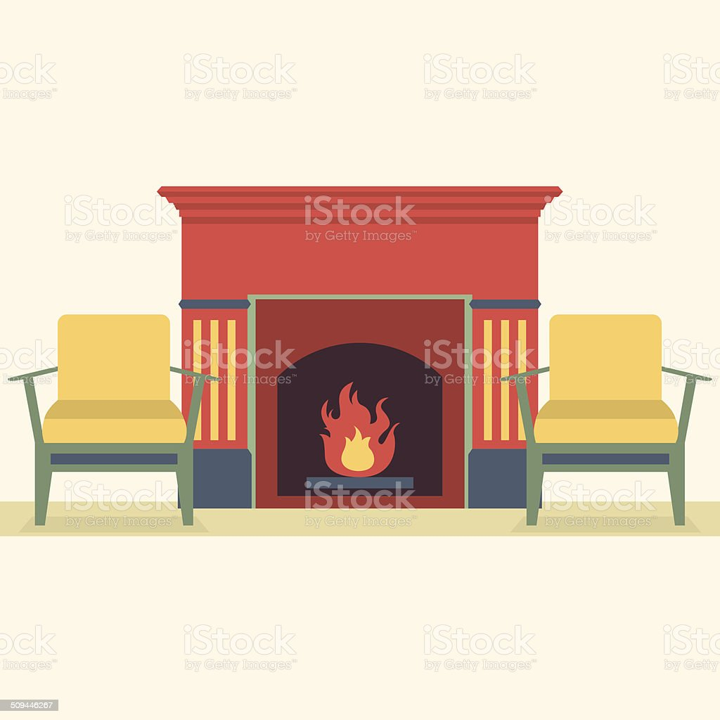 Sofas And Fireplace Living Room Interior vector art illustration