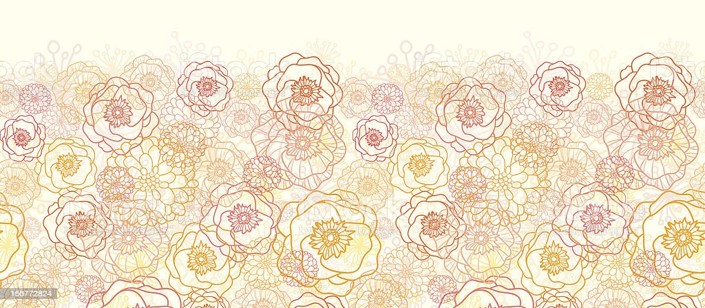 Soft Bouquet Floral Horizontal Seamless Pattern Ornament royalty-free stock vector art