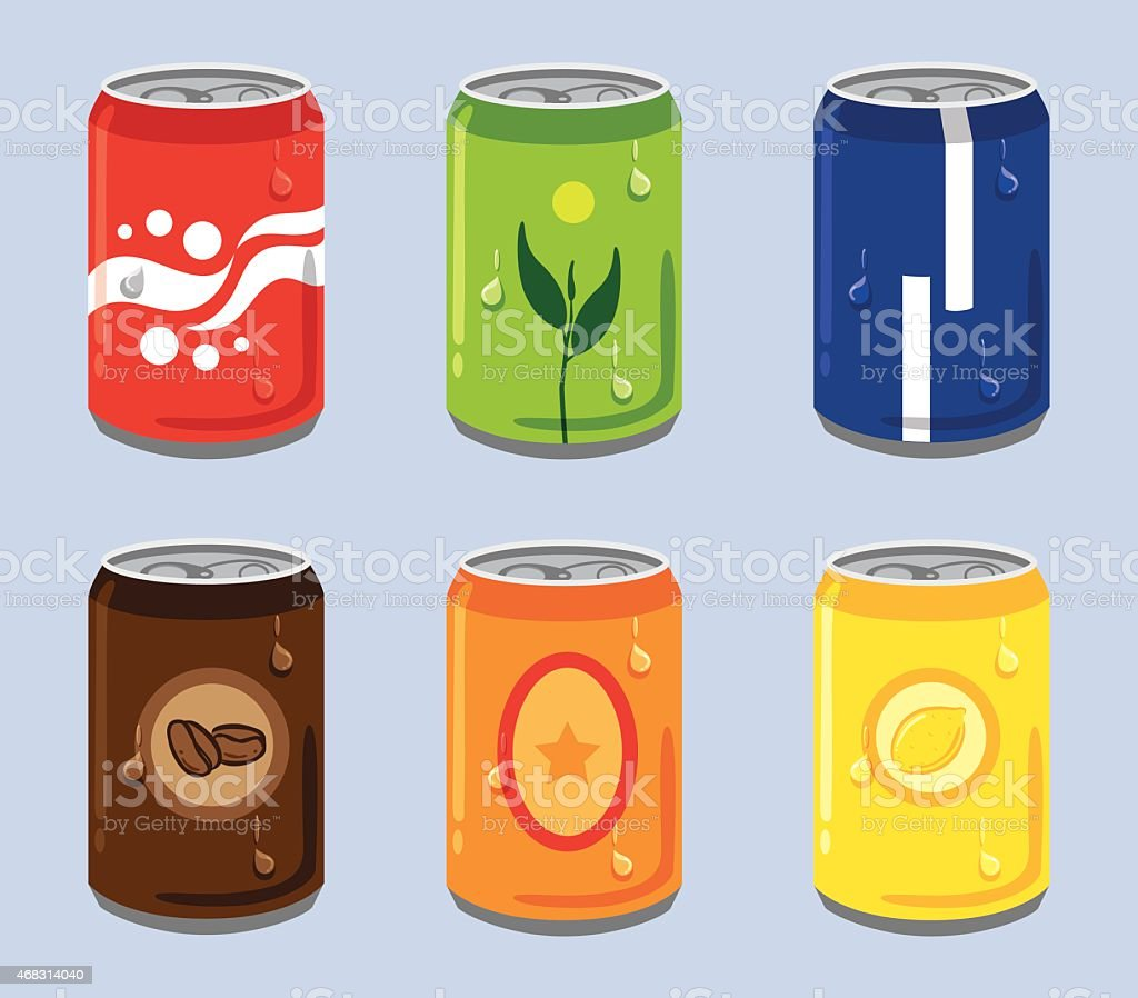 Soft Drink Cans vector art illustration