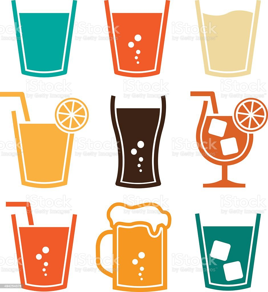 Soft Drinks Set vector art illustration