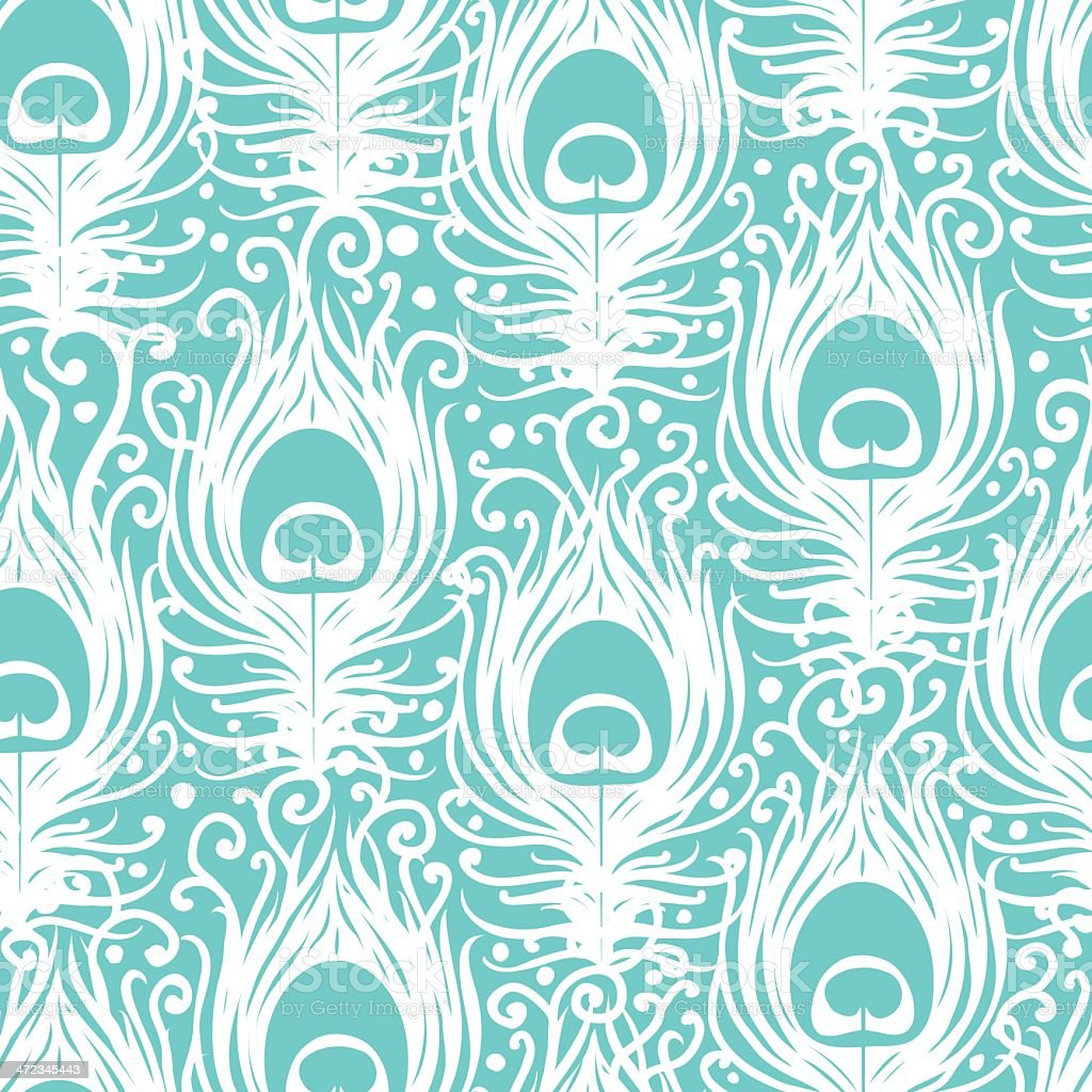 Soft peacock feathers vector seamless pattern background vector art illustration