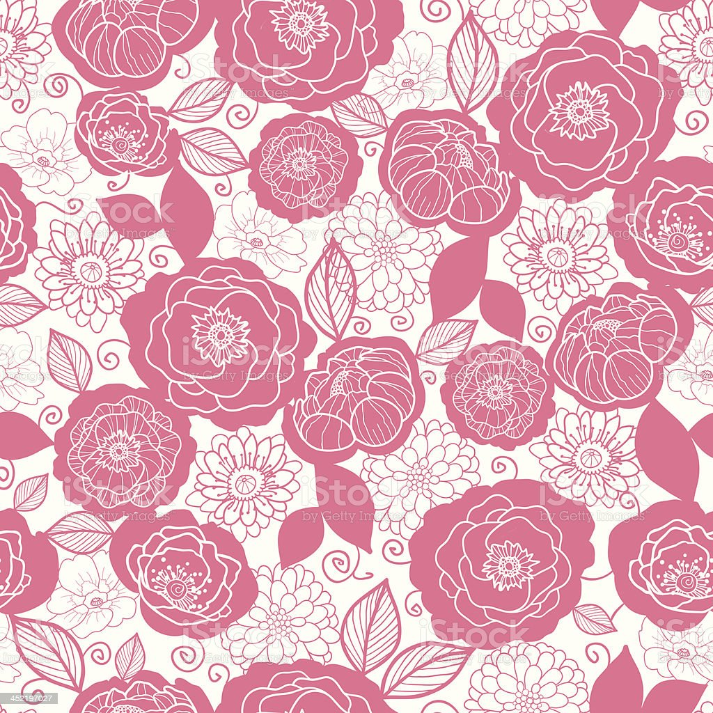 Soft pink and white florals seamless pattern background royalty-free stock vector art